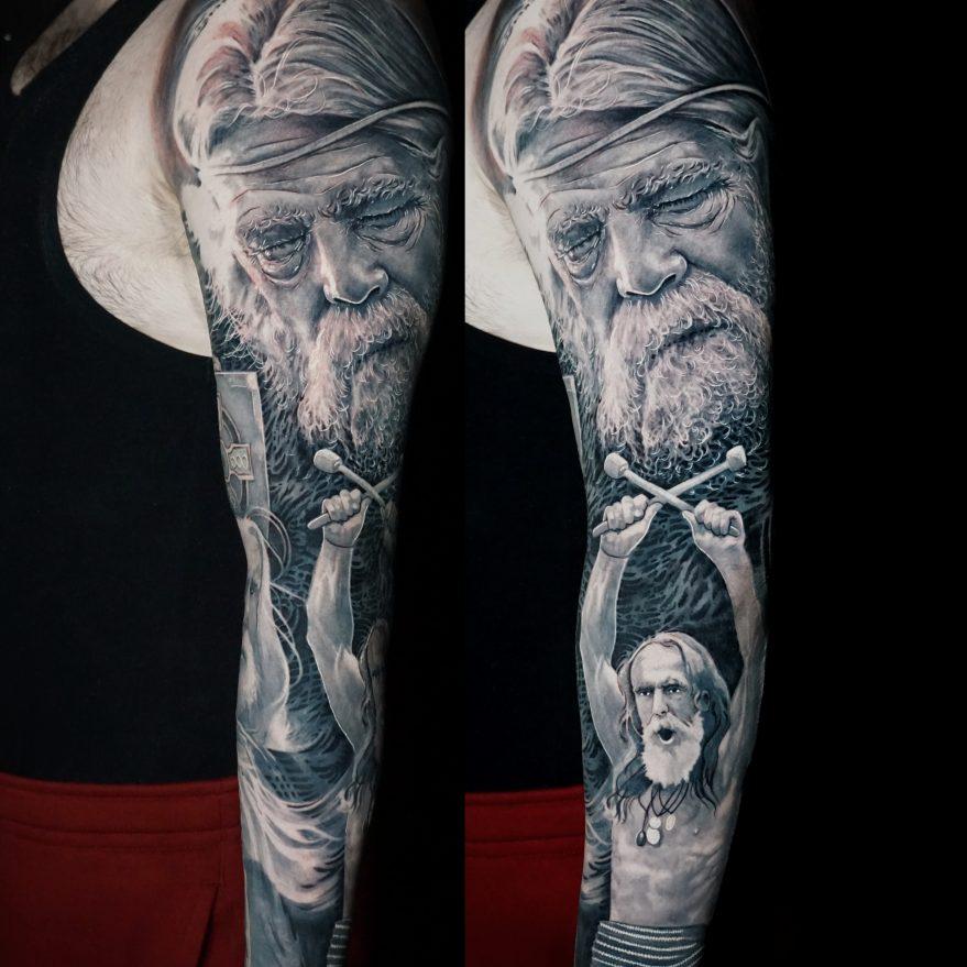 Full Arm Sleeve Tattoo of Irish Celtic Warrior Strength Portrait by Alo Loco