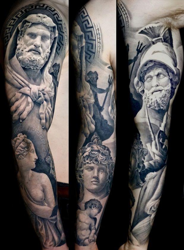 Black and Grey Realistic Full Arm Sleeve Tattoo of Greek and Roman Gods Mythology by Alo Loco, London, UK