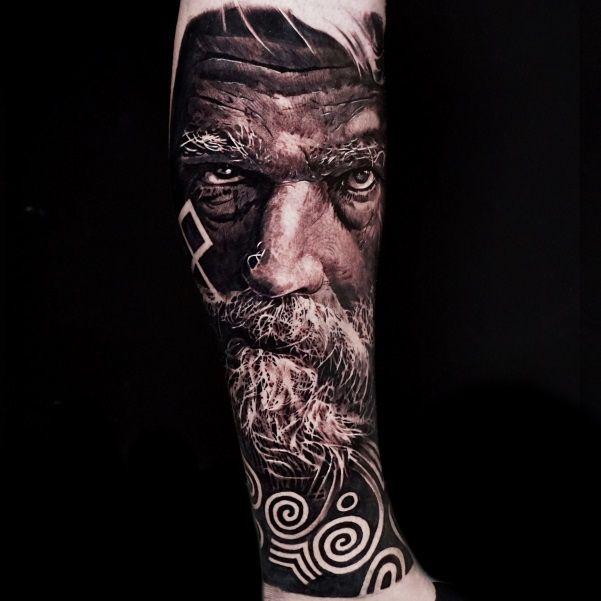 Black and Grey Tattoo Realism Leg Sleeve Tattoo of Courageous Irish Celtic Warrior Ancestor by Alo Loco, London, UK