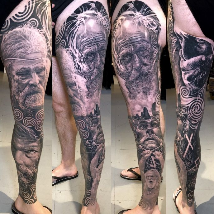 Full leg Celtic sleeve tattoo in black and grey realism of Irish Ancestors Warriors portraits by Alo Loco, London, UK