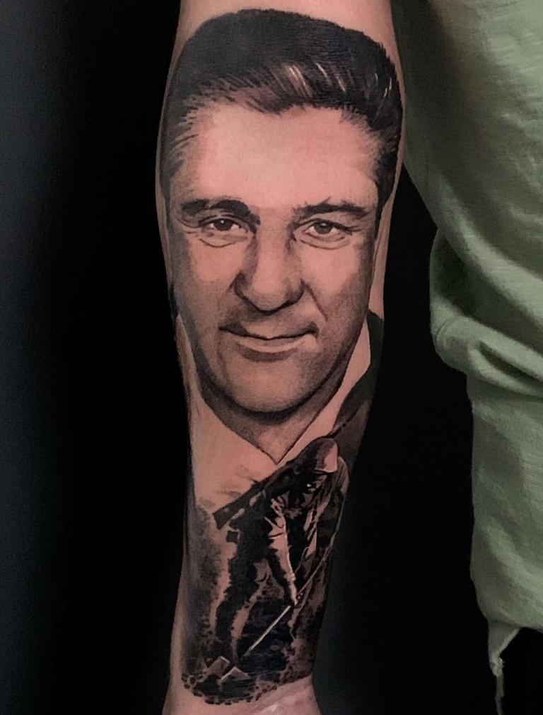 Grandad portrait forearm sleeve tattoo black and grey realistic london artist uk best top