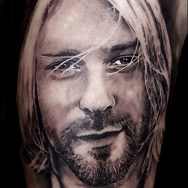 Black and Grey tattoo of Kurt Cobain Portrait by Alo Loco