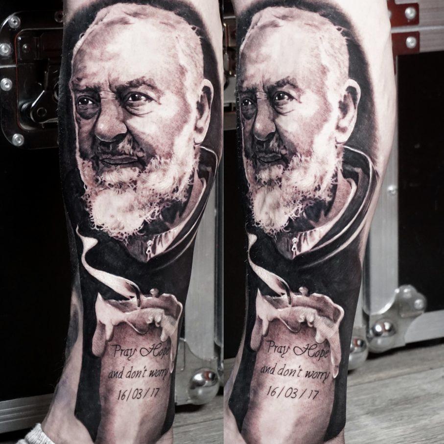 Black and grey Padre Pio portrait tattoos