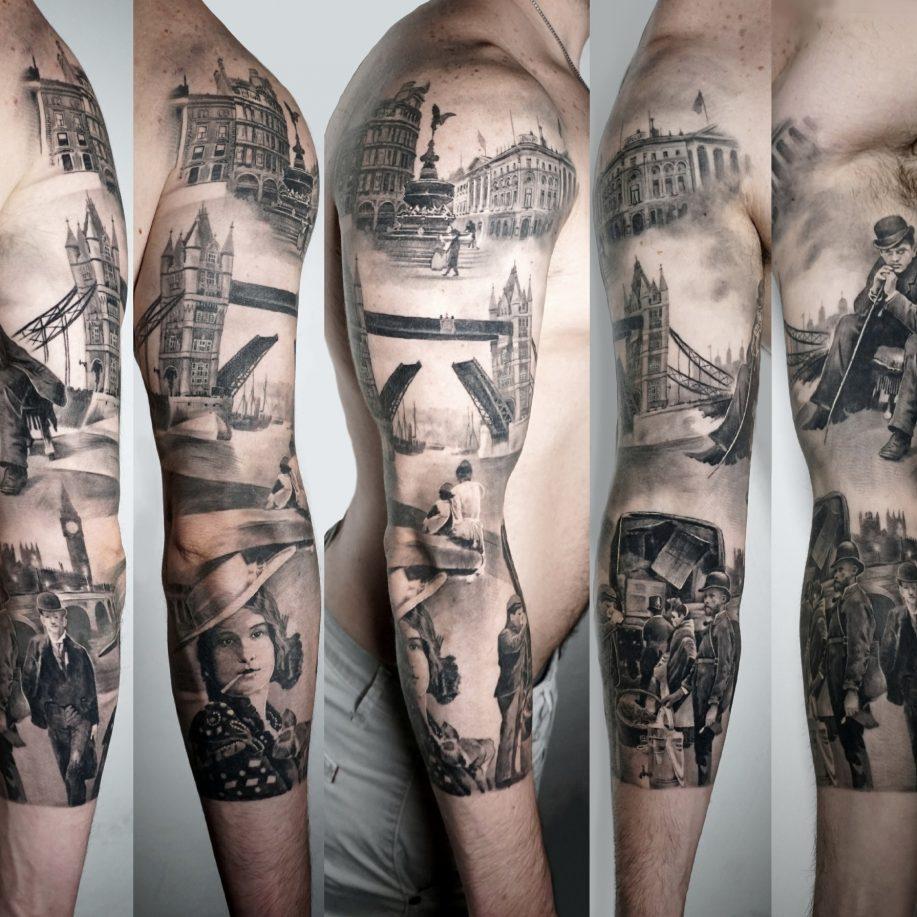 black and grey full sleeve of old London 1800, Kamil tattoos studio
