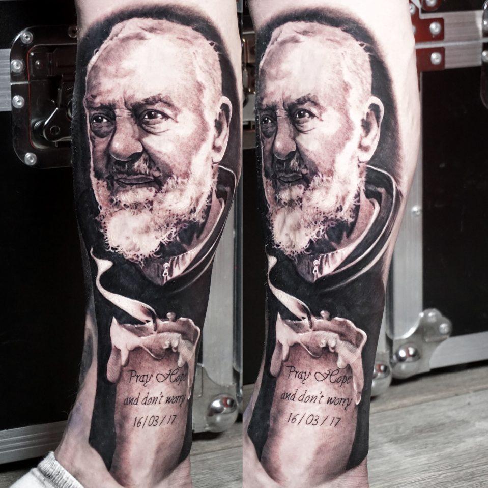 Padre Pio black ang grey portrait realism on leg sleeve by Alo Loco