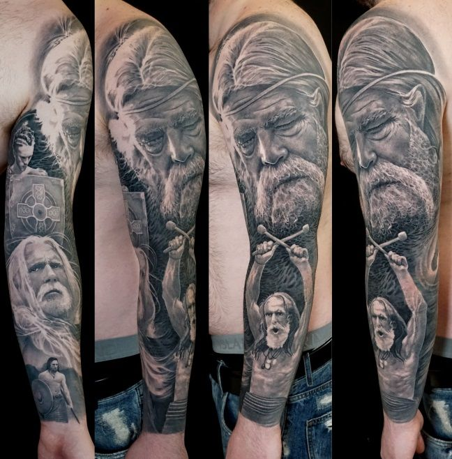 Black and grey realistic full sleeve tattoo of Irish Celtic Warriors on the battlefield by Alo Loco, Lonon, UK