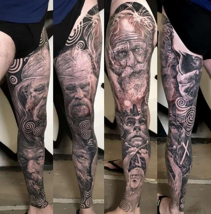 Full leg sleeve tattoo in black and grey realism of Celtic Irish warriors portraits by Alo Loco, best London artist, UK