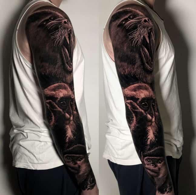 Black and grey realistic monkeys portraits full arm sleeve tattoo, London, UK